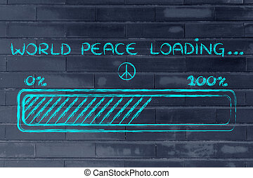 barre, chargement, paix, illustration, progess, mondiale