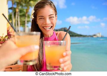 barre, cocktail, amis, fête, boire, grillage, plage