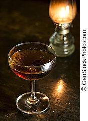 barre, cocktail, classique, boisson, manhattan, whisky