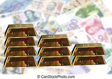 barre, concetto, accatastato, .financial, oro verghe
