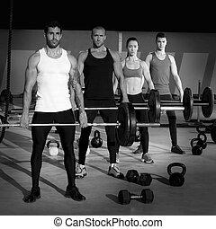 barre, crise, poids, gymnase, croix, groupe, séance entraînement, levage