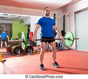 barre, crossfit, poids, séance entraînement, fitness, gymnase, levage, homme
