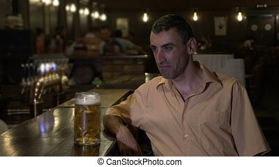 barre, déprimé, pub, bière, seul, misérable, avoir, homme