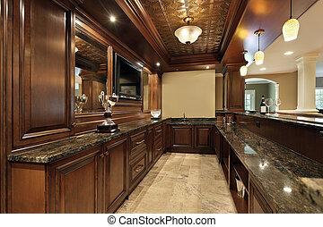 barre, dans, sous-sol, de, maison luxe