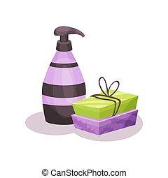 barre, fondo, liquido, illustrazione, vettore, bottiglia, distributore, bianco, sapone