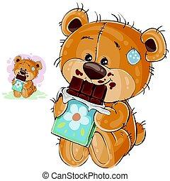 barre, il, vecteur, dent douce, tenue, ours, chocolat, manger, sien, pattes, teddy, illustration, brun