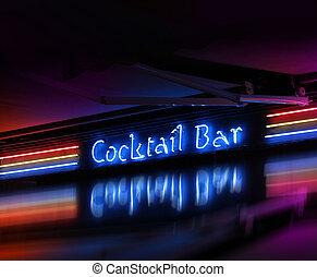 barre, incandescent, néon, cocktail, signe