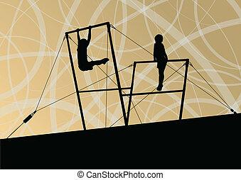 barre, irregolare, manifesto, astratto, illustrazione, silhouette, vettore, fondo, attivo, sport, bambini
