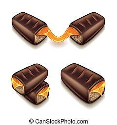 barre, isolé, chocolat, vecteur, caramel, blanc