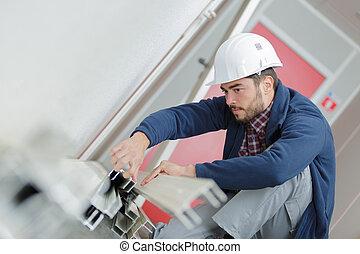barre, lavorativo, metallo, giovane, luogo, costruzione, uomo
