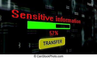 barre, ligne, information, transfert, progrès, sensible