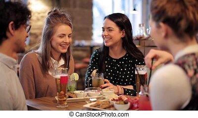barre, manger boire, café, amis, ou, heureux