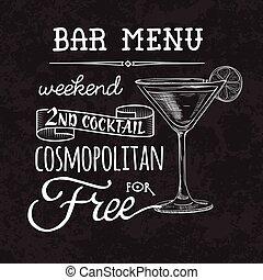 barre, menu, proposition, cocktail