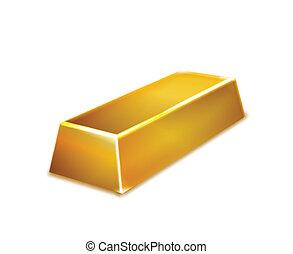 barre, or, isolé, arrière-plan., vecteur, blanc