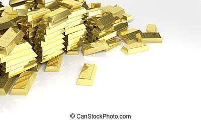 barre, oro, grande, isolato, mucchio, bianco