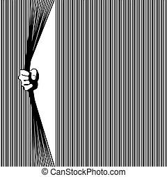 barre, ottenere, freedom., illustrazione, mano, vettore, presa a terra, prigione