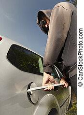 barre, parking, endroit, jemmy, essayer, voler, public,...