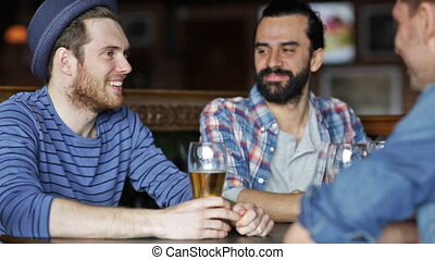 barre, pub, bière, boire, mâle, amis, ou, heureux