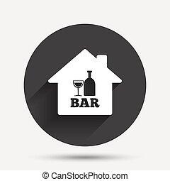 barre, pub, signe, verre., bouteille, icon., ou, vin