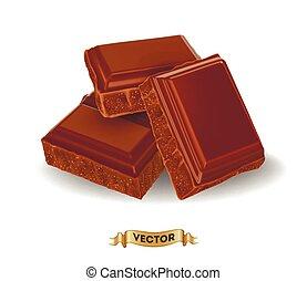 barre, réaliste, illustration, chocolat, cassé, vecteur