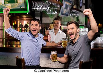 barre, regardant télé, hommes, deux, jeune, bière, quoique, séance, boire, heureux, faire gestes, bar.