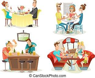 barre,  restaurant, gens,  4, icônes,  café