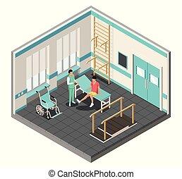 barre, riabilitazione, fisioterapia, isometrico, parallelo, manifesto, camminare, carrozzella, scale.