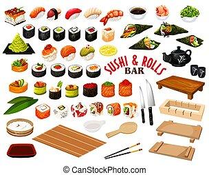 barre, rouleaux, vecteur, sushi, cuisine japonaise