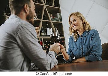 barre, séance, couple, date, table, beau, vin