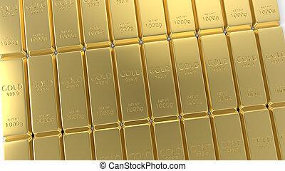 barre, set, oro, isolato, interpretazione, fondo, bianco, 3d