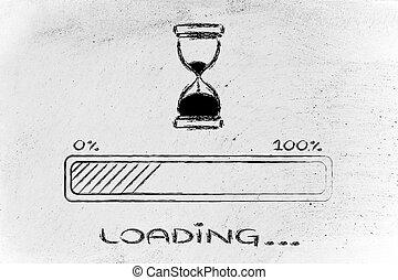 barre, s'il vous plaît, illustration, progrès, attente,...