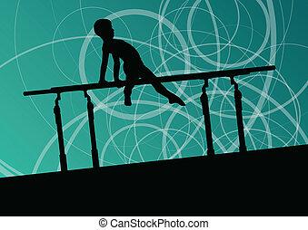 barre, silhouette, manifesto, astratto, illustrazione, bambini, vettore, fondo, attivo, sport, parallelo