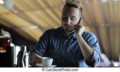 barre, téléphone, séance, jeune, conversation, quoique, homme