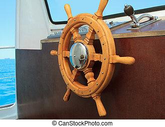 barre, timonerie, bateau, vieux