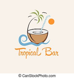 barre tropicale, vecteur, conception, gabarit