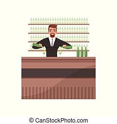 barre, vecteur, cocktails, compteur, préparer, barman, ...