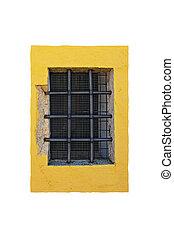 barred window, yellow