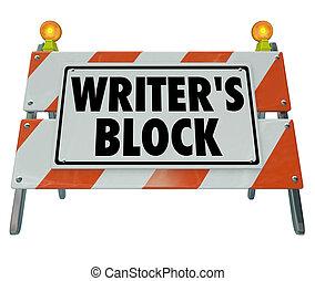barreira, construção, barricada, estrada, palavras, bloco escritor