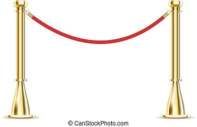 barreira, corda, isolado, branco