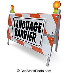 barreira linguagem, significado, palavras, tradução, mensagem, interprete