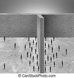 barreira, para, negócio