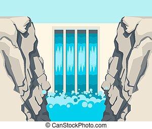 barreira, represa, fluxo, paradas, água, restricts,...