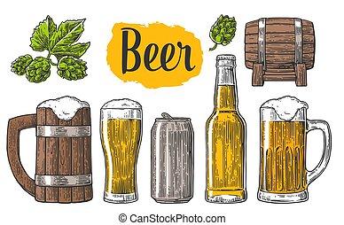 barrel., 缶, びん, ビール, クラス
