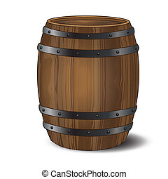 Barrel - A wooden beer or wine barrel on white background. ...