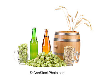 Barrel and bottles of beer with hop.