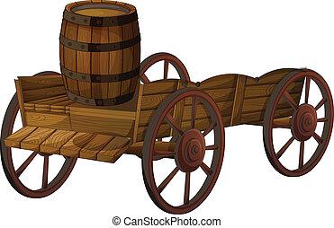 barrel and wagon - Illustration of a barrel on a wagon