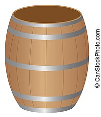 barrel - Barrel wood product storage on a white background