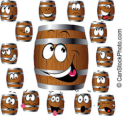 barrel cartoon with many expressions in face