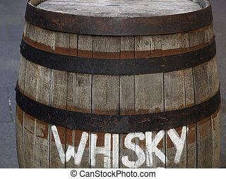 Barrel cask - Old wooden barrel cask for whisky or beer or...
