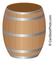 barrel - Barrel wood product storage on a white background